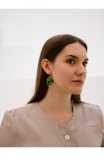 GABEL: Zöld sújtás fülbevaló Swarovski kristállyal