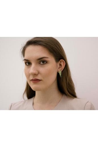 Kinga Horányi: IKIIKI ezüst fülbevaló / zöld háromszög