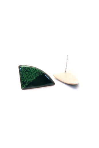 AME Creation: Zöld körcikk / közepes tűzzománc fülbevaló
