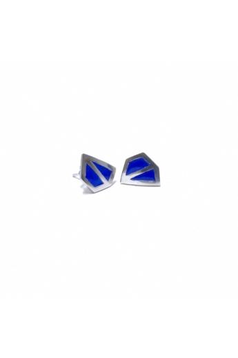 AME Creation: Sokszög kék kicsi ezüst tűzzománc fülbevaló