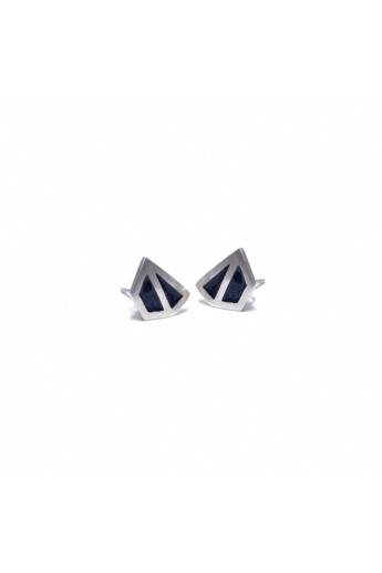 AME Creation: Sokszög fekete kicsi ezüst tűzzománc fülbevaló