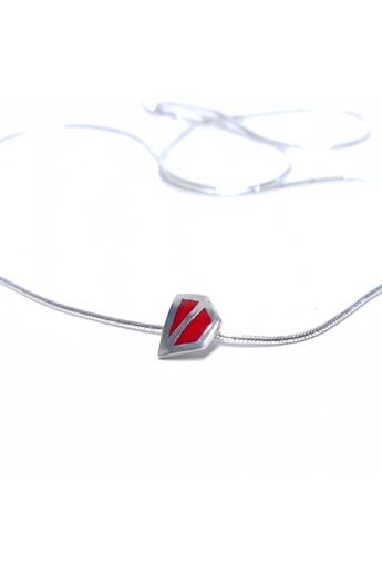 AME Creation: Sokszög piros kicsi ezüst tűzzománc medál nyaklánccal