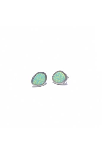 AME Creation: Ovális sárga/zöld kicsi ezüst tűzzománc fülbevaló