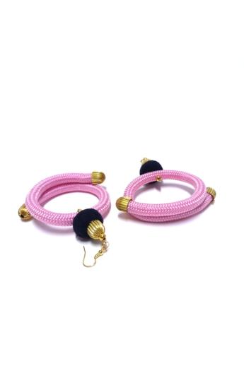 Bárkay Ágnes: Dorothea fülbevaló / pink zsinórból