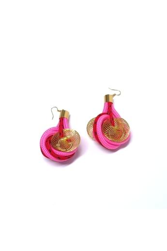 Bárkay Ágnes: Vera fülbevaló / pink zsinórból