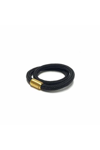 Bari's: Zsinór fekete karkötő, dupla,  arany mágneskapocs - fekete