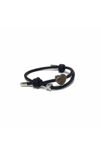 Bari's: Zsinór karkötő, csúszócsomós,szív és köves medállal - fekete n2