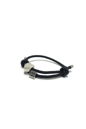 Bari's: Zsinór karkötő, csúszócsomós,szív és köves medállal - fekete n3