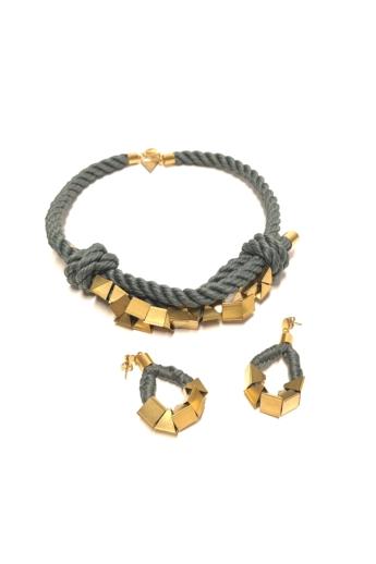 Bari's: Zsinór ékszer szett / nyaklánc és fülbevaló - szürke