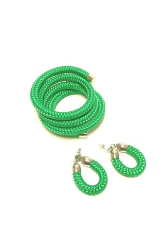 Bari's: Zsinór ékszer szett / karkötő és fülbevaló - zöld