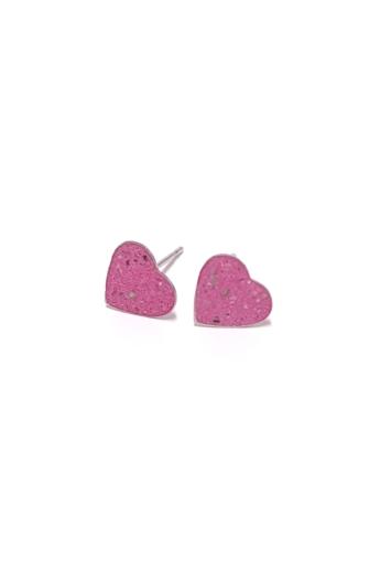 Bibeton: Rózsaszín szív bedugós fülbevaló