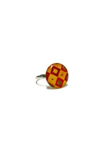 "COTA: Piros kockás ""Klimt"" gyűrű"