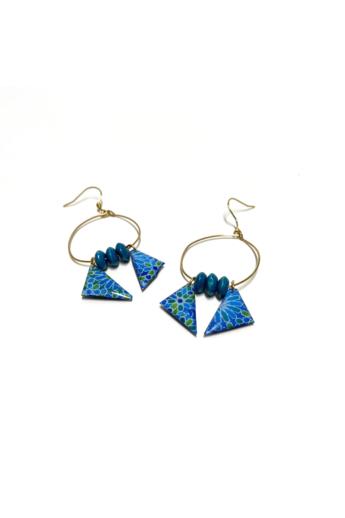 COTA: Kék arabeszkes trio fülbevaló