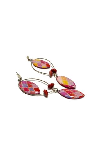 COTA: Rózsaszín arabeszkes csepp fülbevaló