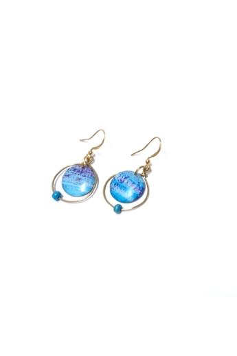 COTA: Kék akvarrell cseppek fülbevaló