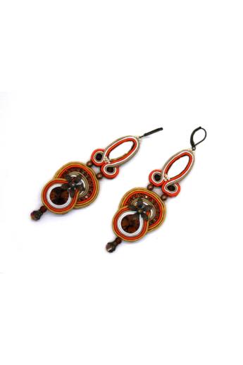 GABEL: Narancs, drapp hosszú fülbevaló