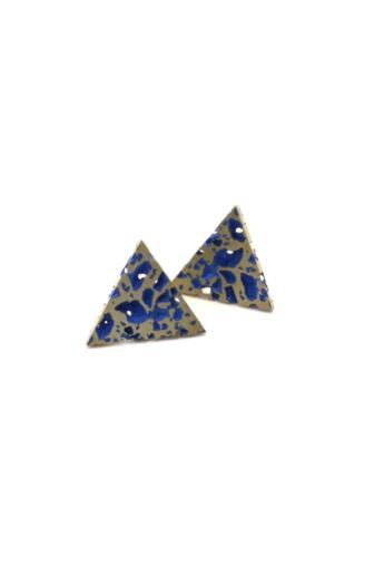 Kinga Horányi: IKIIKI ezüst fülbevaló / kék háromszög