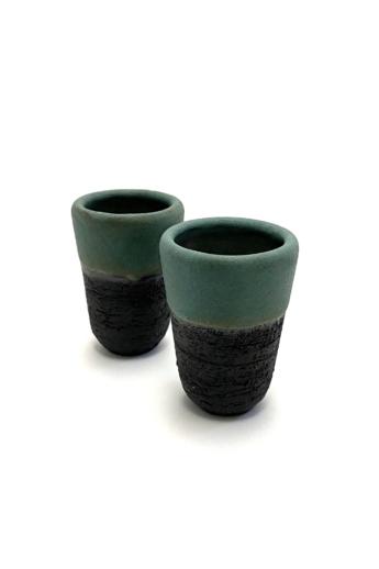 Károlyi Ildikó: Pálinkás pohár / 1db / magastüzű kerámia