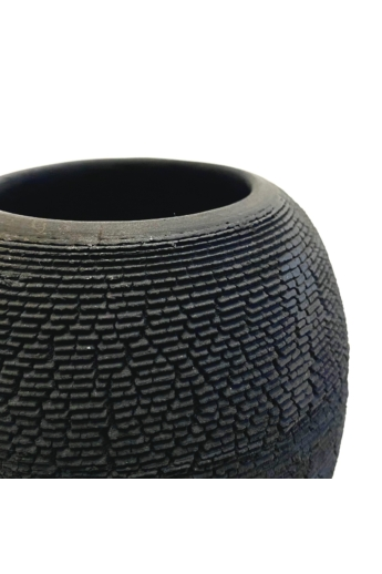 Károlyi Ildikó: Fekete ceruzatartó / Raku / magasság 11cm, ø 11cm