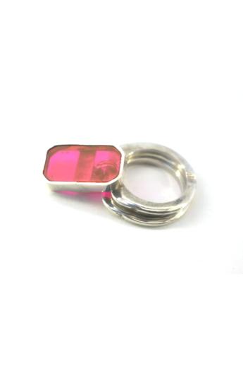 KAO: Dupla, ezüst, plexi gyűrű