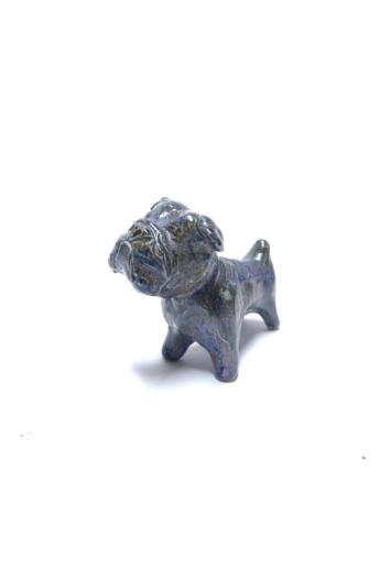 Kiss Gabi: Kék kutya / Raku kerámia / magasság 8 cm