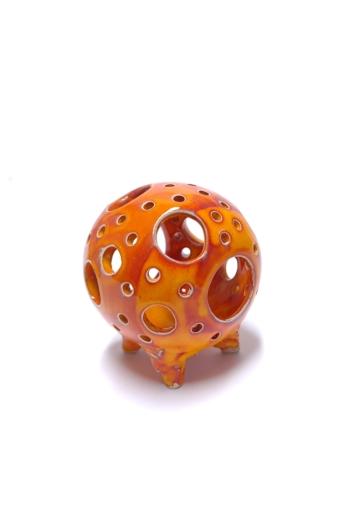 Kiss Gabi: Gömb mécses n1 / Raku kerámia / magasság 11 cm