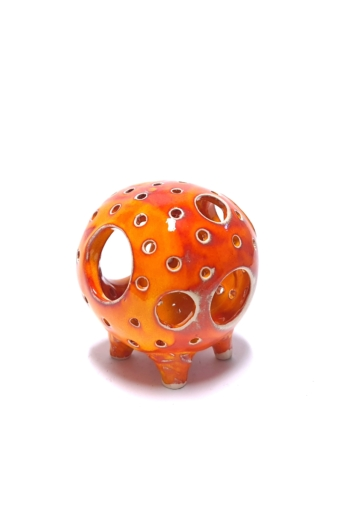 Kiss Gabi: Gömb mécses n2 / Raku kerámia / magasság 11 cm