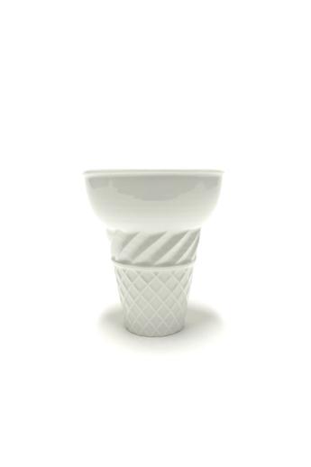 Knetik Dóra: Porcelán fagyitölcsér fehér N1 / magasság 12cm