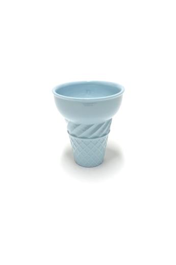 Knetik Dóra: Porcelán fagyitölcsér kék N1 / magasság 12cm