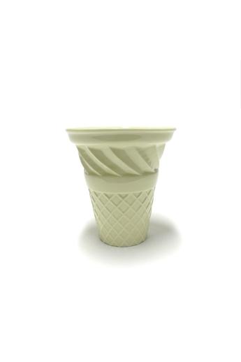 Knetik Dóra: Porcelán fagyitölcsér sárga N3 / magasság 12cm