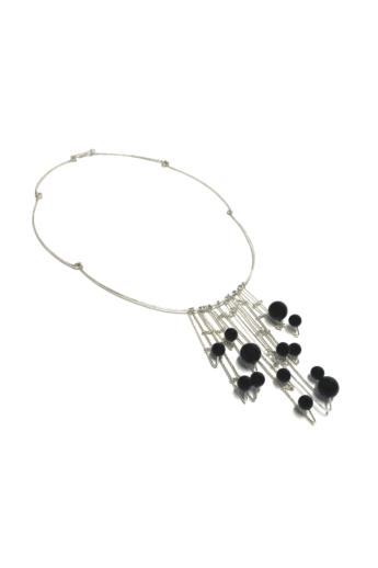 Krizokolla: Ónix golyós ezüst nyakék