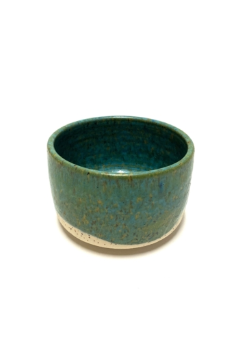 Márta Nóra: Zöld, pirites teás-leveses bögre / magasság 8cm, ø 12cm