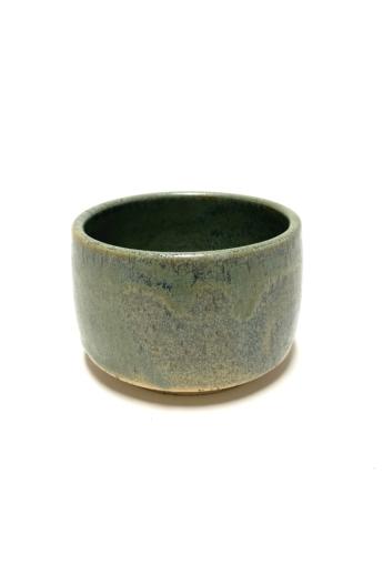Márta Nóra: Zöldpöttyös, pirites teás-leveses bögre / magasság 8cm, ø 12cm