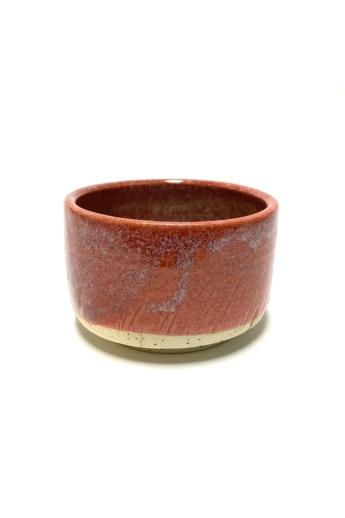 Márta Nóra: Korallszínű, pirites teás-leveses bögre / magasság 8cm, ø 12cm