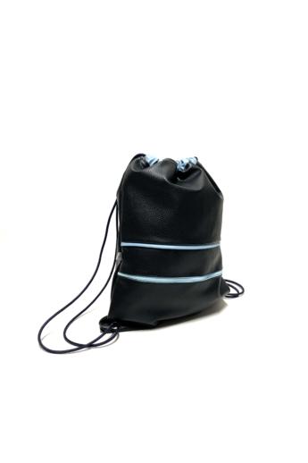 MADO: Gymbag zsebbel / Fekete - kék csíkokkal