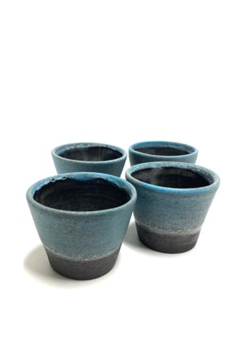 Pastel Ceramics:  Kék ködös készlet 4db / magasság 7cm, ø 8cm