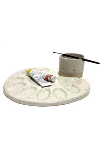 Pastel Ceramics:  Paletta és ecsettartó tálka n2 / ø 8cm
