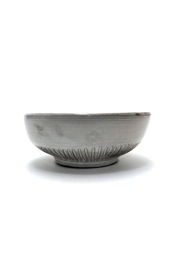 Pastel Ceramics:  Fehér bordázott müzlistál / ø16cm