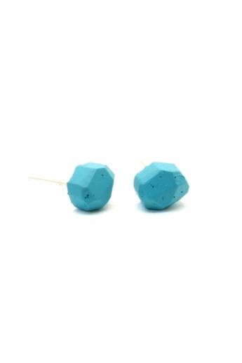 Rebelle: Kicsi kavics beton fülbevaló / kék