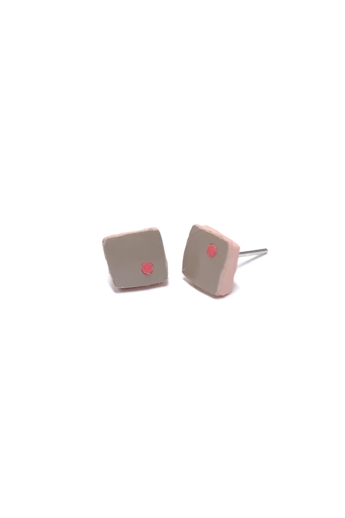RE Jewel: Szürke-pink mini bőr fülbevaló