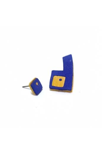 RE Jewel: Kék-sárga felemás bőr fülbevaló