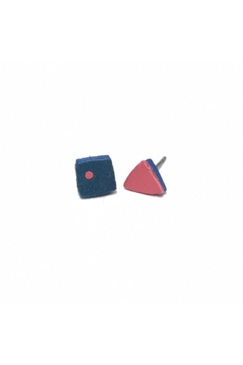 RE Jewel: Kék-pink mini bőr fülbevaló
