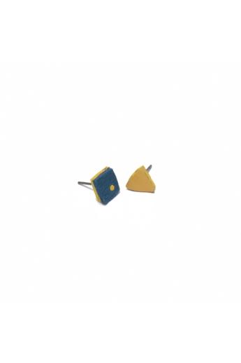 RE Jewel: Kék-sárga mini bőr fülbevaló