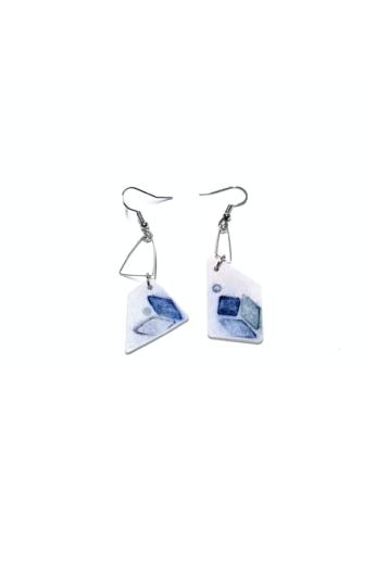 RE Jewel: Kék mintás lógós porcelán fülbevaló
