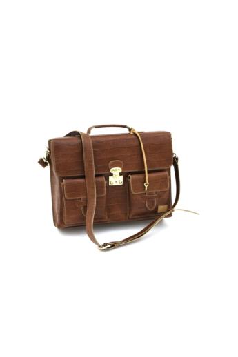REQU Design: Barna női bőr business bag (krokodilbőr mintás)