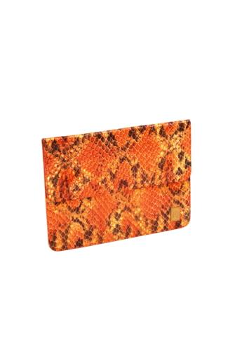 REQU Design: Őszi narancs bőr tok (kígyóbőr mintás)