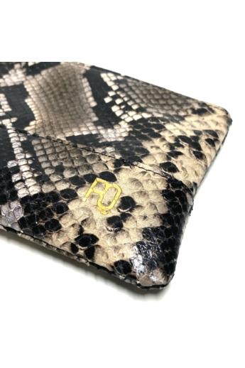 REQU Design: Kígyóbőrmintás lapos piperetáska / 13x19cm