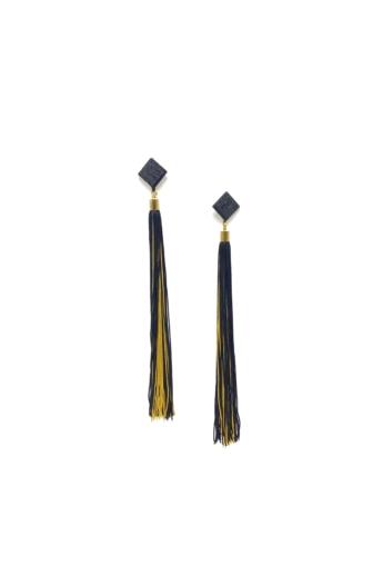 TIA Design: Rojtos fülbevaló - fekete+sárga