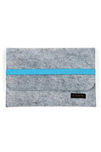 VIENTO: Világosszürke filc laptoptáska kék pánttal / M méret