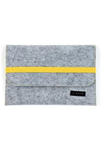 VIENTO: Világosszürke filc laptoptáska sárga pánttal / M méret